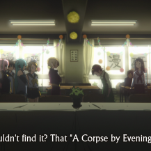 We had a shot like this last episode, too, but this time it's just Mayaka and (the person I presume is Ayako) in the middle of the room, no longer spaced apart in the long shot.