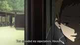 (2/2) ...which sets up this shot, which again does the frame split between dark and light, but also doubles up on the visual motif by returning it to Satoshi's face as well. This shot also inverts the prior one I pointed out that had Satoshi in the background behind Oreki. The space is maintained, but Oreki is not looking after Satoshi.