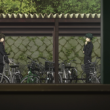 And, finally, as Oreki proposes the deception of the final Juumonji crime, we see frames within frames with frames, artifice within artifice. It's no small feat to gesture towards the inherent falsity of cinema to enhance the falsity of what is happening within that very act.